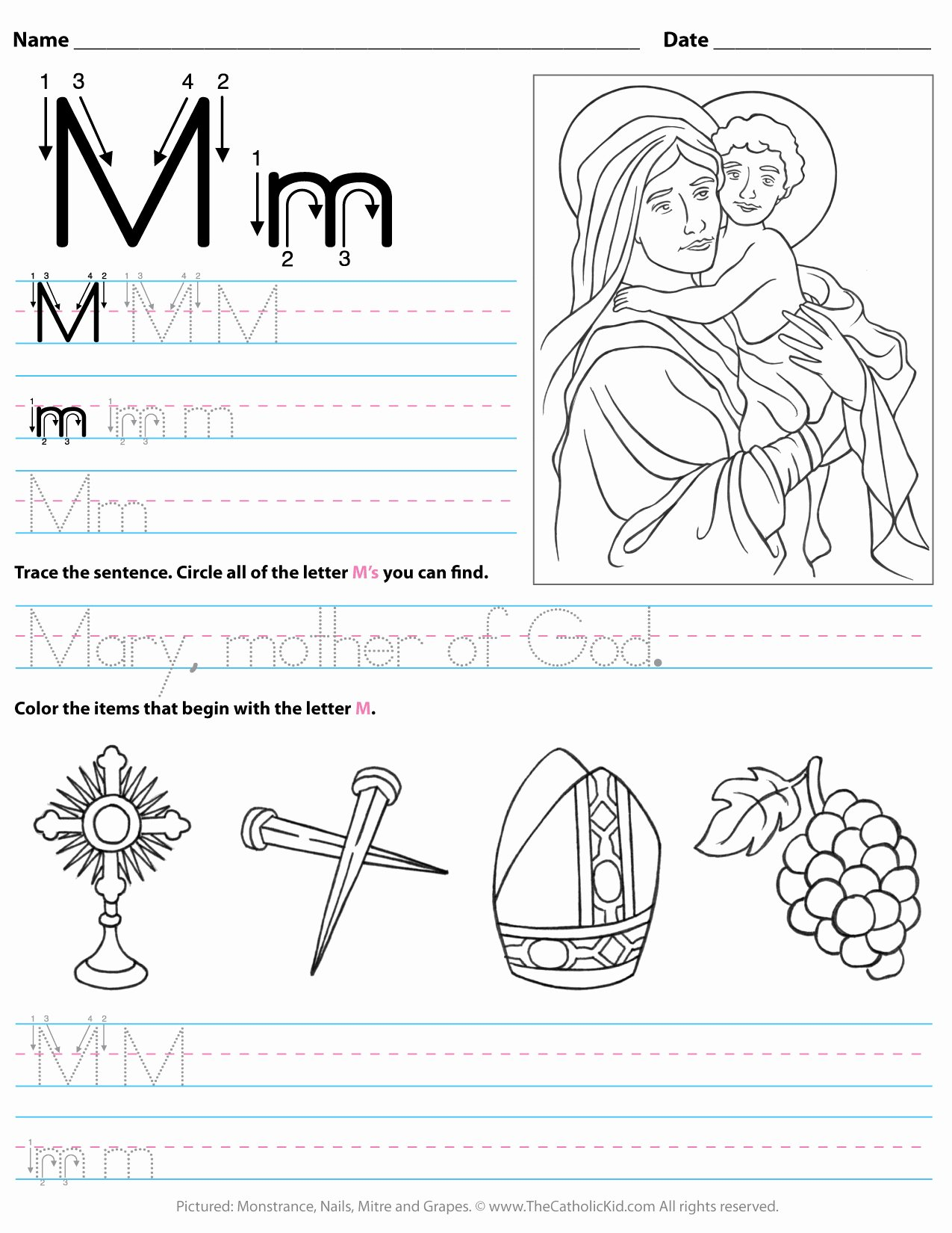 Letter M Worksheets for toddlers Best Of Worksheet Free Alphabet Tracing and Coloring Printable is