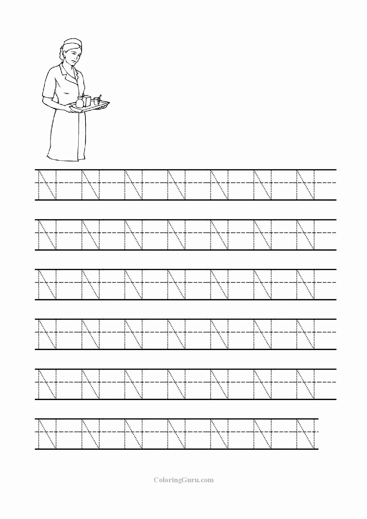 Letter N Tracing Worksheets Preschool Best Of Free Printable Tracing Letter N Worksheets for Preschool