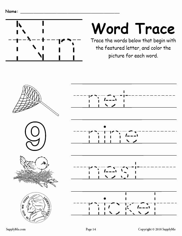 Letter N Worksheets for Kindergarten Ideas Letter N Words Alphabet Tracing Worksheet