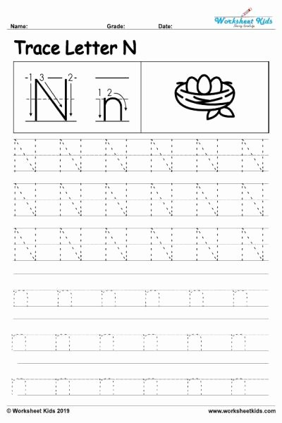 Letter N Worksheets for Preschool Printable Letter N Alphabet Tracing Worksheets Free Printable Pdf