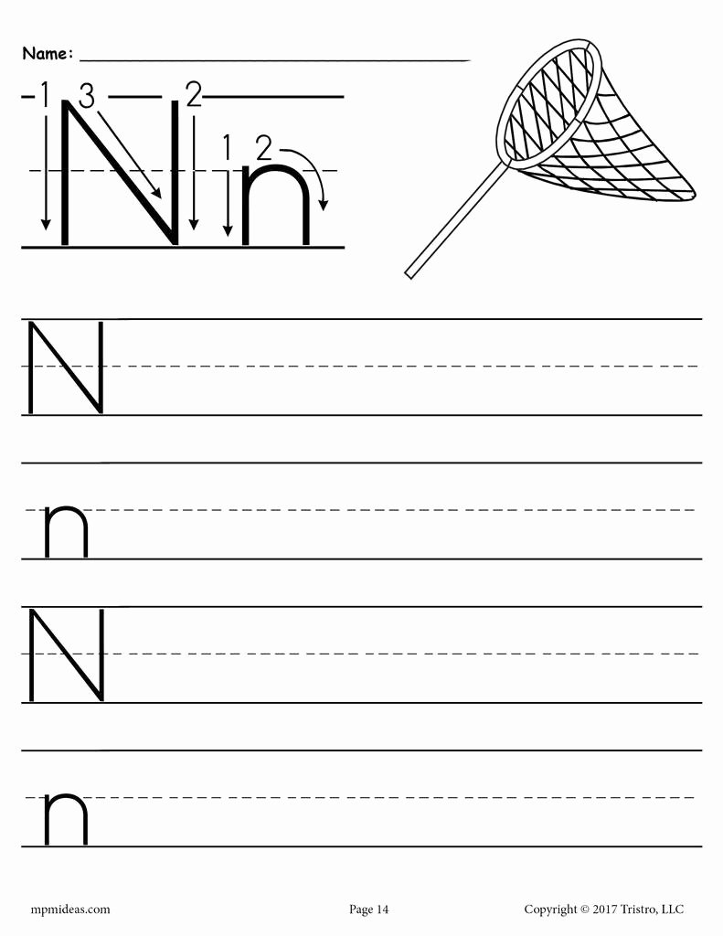 Letter N Worksheets for Preschool Printable Printable Letter N Handwriting Worksheet