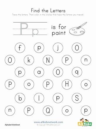 Letter P Worksheets for toddlers Printable Find the Letter P Worksheet