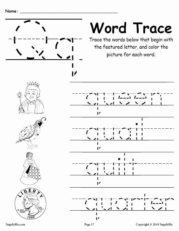 Letter Q Worksheets for Preschool Fresh Letter Q Words Alphabet Tracing Worksheet