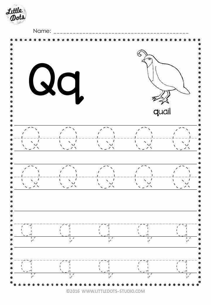 Letter Q Worksheets for Preschool Printable Free Letter Q Tracing Worksheets
