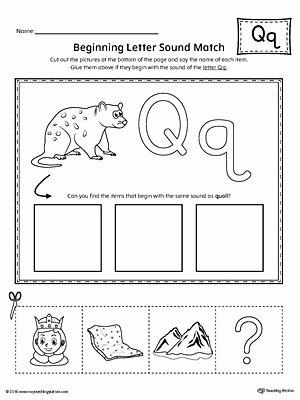 Letter Q Worksheets for Preschool top Letter Q Beginning sound Picture Match Worksheet