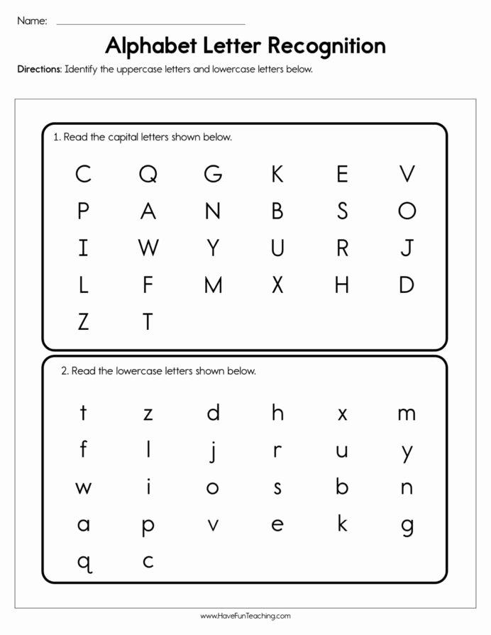 Letter Recognition Worksheets for Kindergarten Free Alphabet Letter Recognition assessment Have Fun Teaching