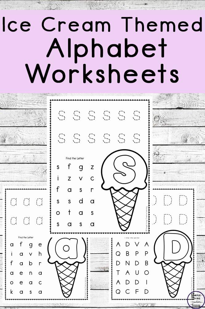 Letter Recognition Worksheets for Kindergarten New Ice Cream themed Alphabet Worksheets Simple Living