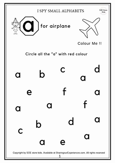 Letter Recognition Worksheets for Kindergarten top soe Store Kids Preschool Alphabets Activity Worksheets 26 Pages Age 2 4 Years