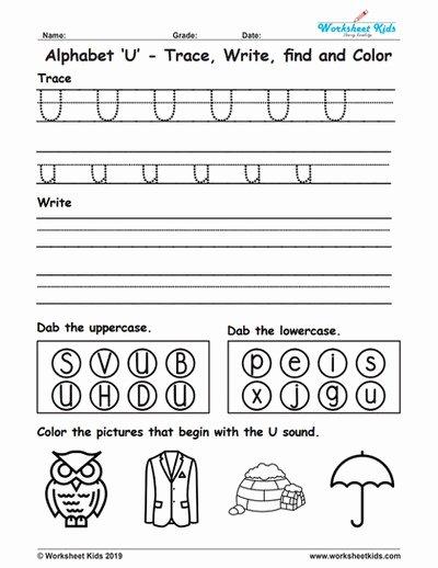 Letter U Worksheets for Kindergarten Printable Alphabet Letter U Trace Write Find Color Free Printable Pdf