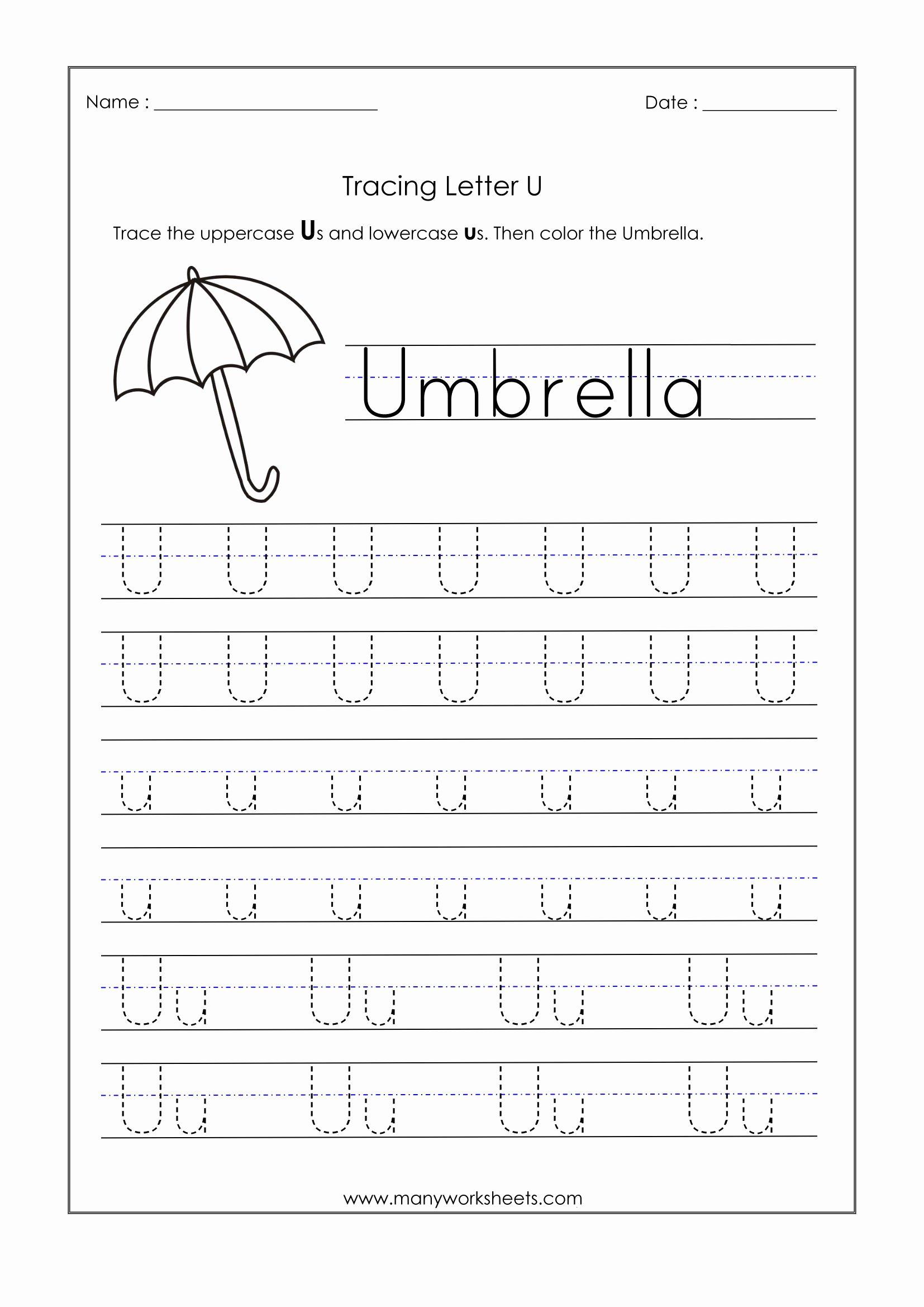 Letter U Worksheets for Kindergarten top Letter Worksheets for Kindergarten Trace Dotted Letters Pre