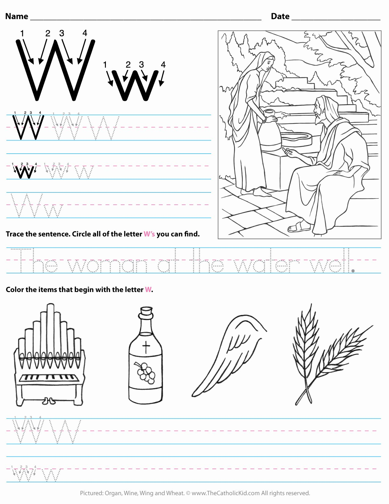 Letter W Worksheets for Preschoolers Best Of Catholic Alphabet Letter W Worksheet Preschool Kindergarten