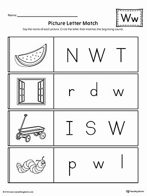 Letter W Worksheets for Preschoolers Fresh Picture Letter Match Letter W Worksheet