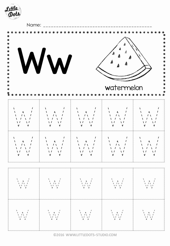 Letter W Worksheets for Preschoolers Kids Free Letter W Tracing Worksheets