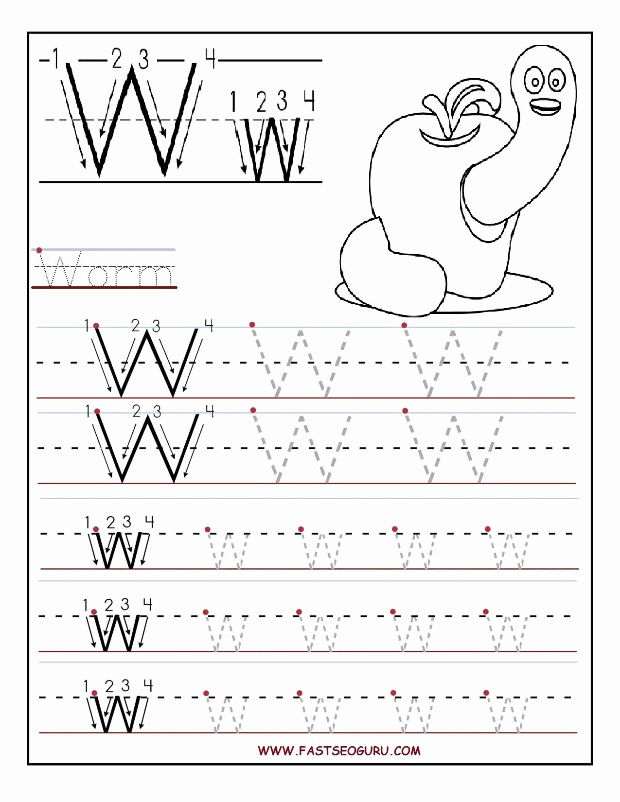 Letter W Worksheets for Preschoolers New Printable Letter W Tracing Worksheets for Preschool