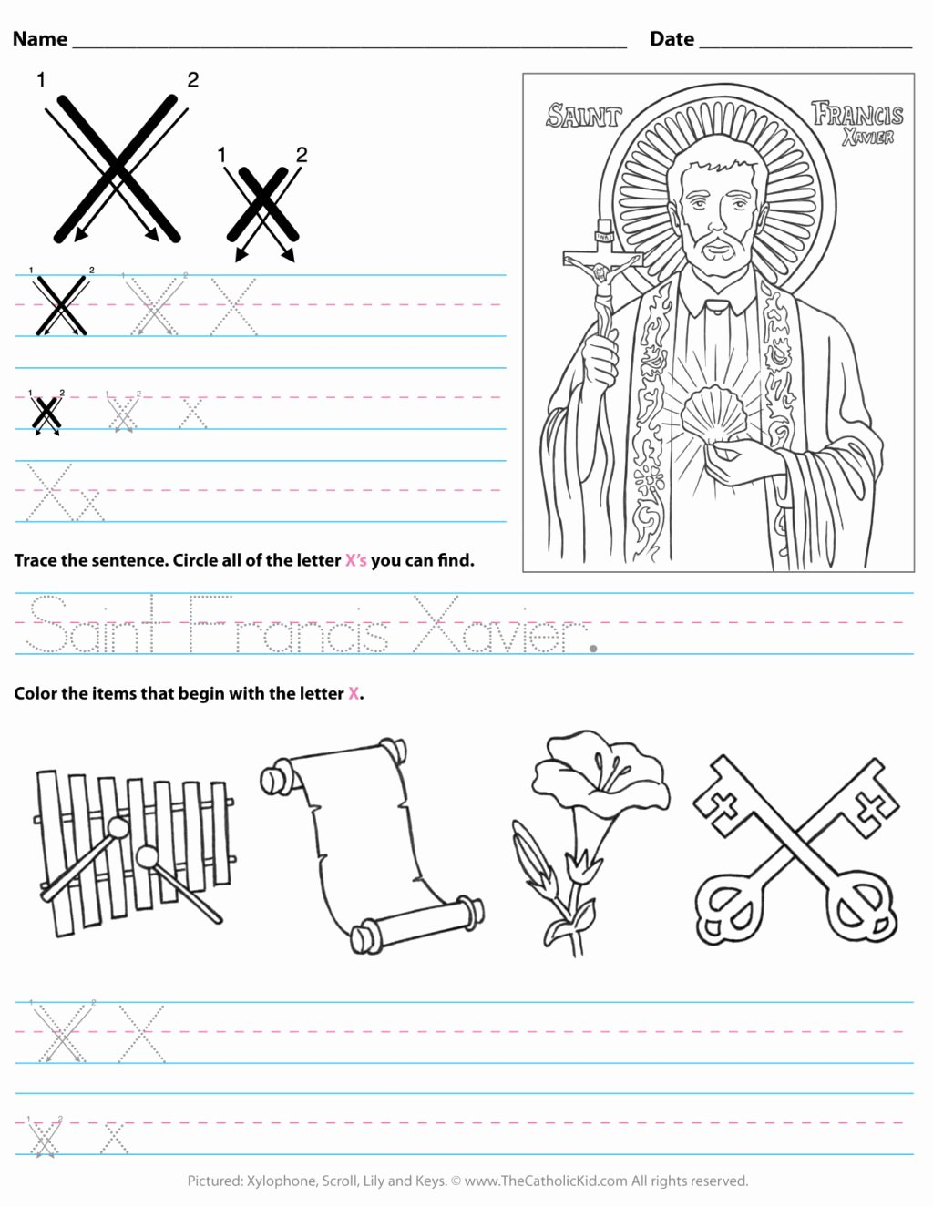 Letter X Worksheets for Kindergarten Kids Worksheet Catholic Alphabet Letter X Worksheet