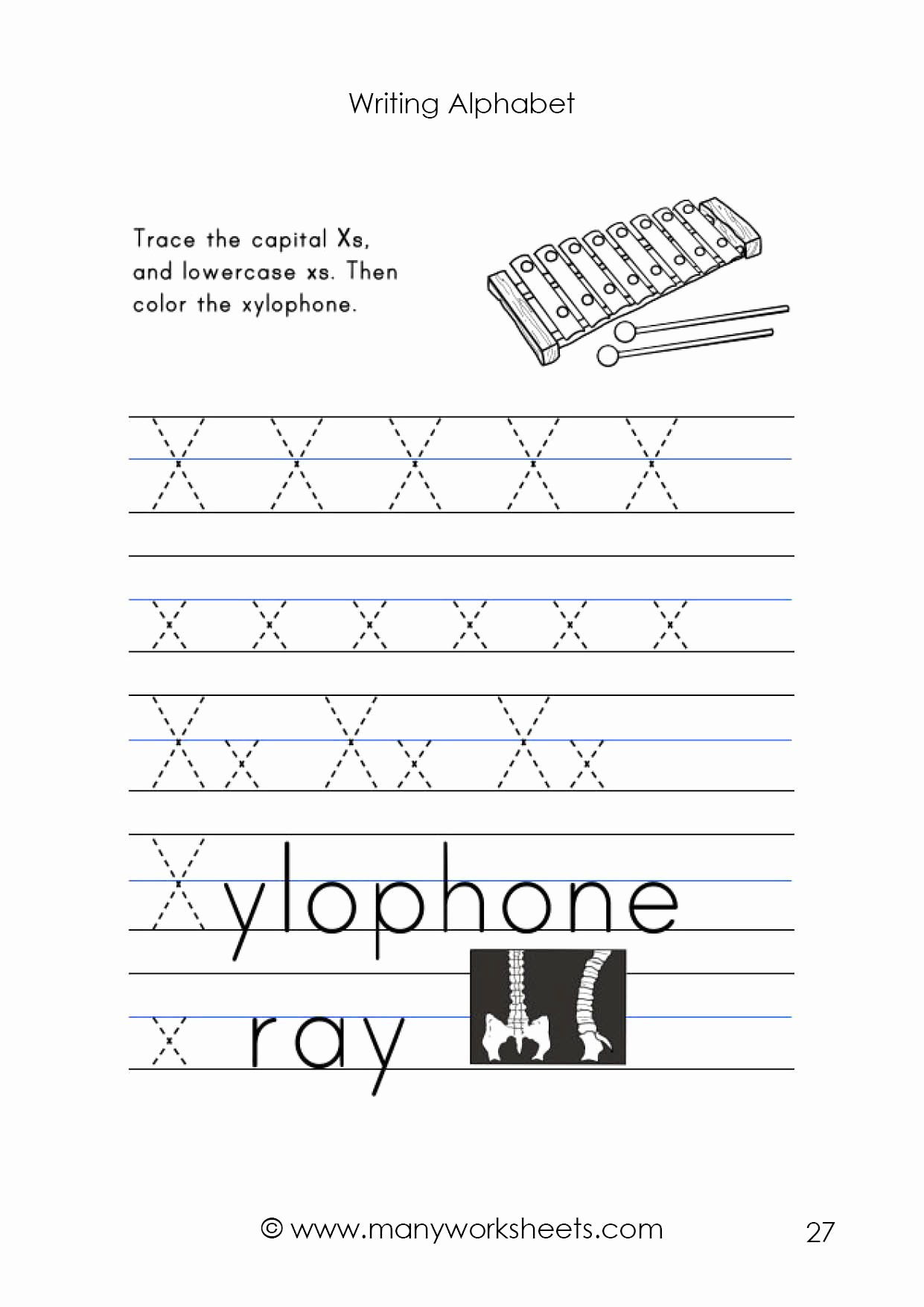 Letter X Worksheets for Preschool Printable Letter X Worksheet – Tracing and Handwriting