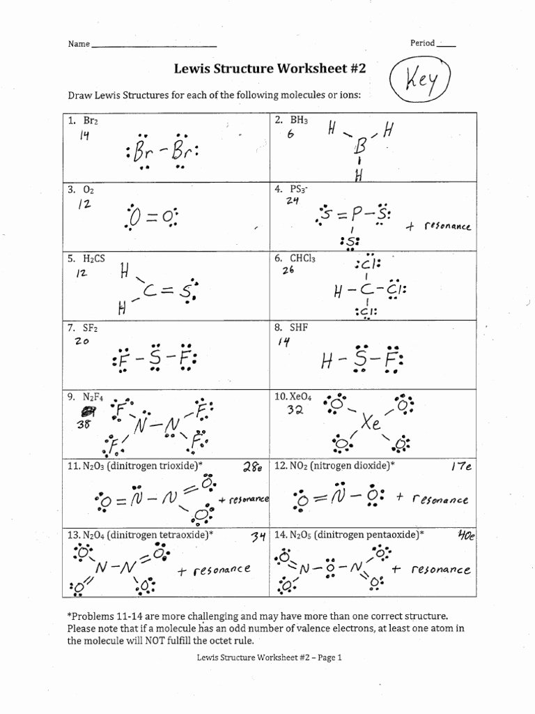 ChemE Lewis Structure Worksheet 2 Answers