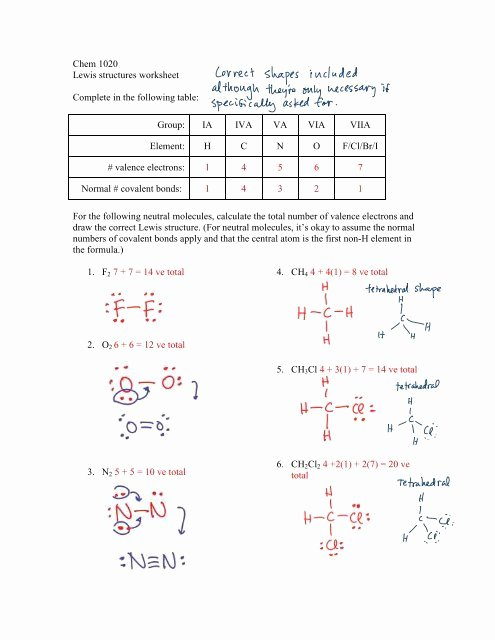 Lewis Structures Worksheet with Answers Kids Chem 1020 Lewis Structures Worksheet Plete In the