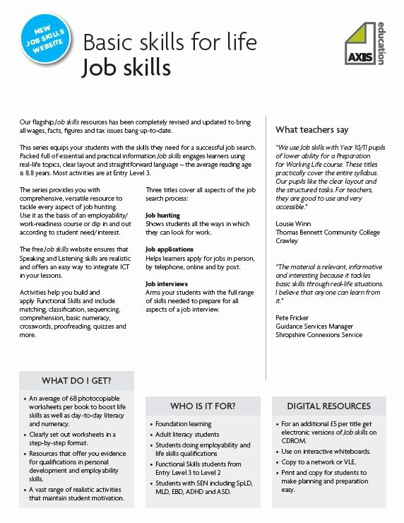 Life Skills Worksheets for Adults Kids Job Skills and Employability Resources Resources Tes