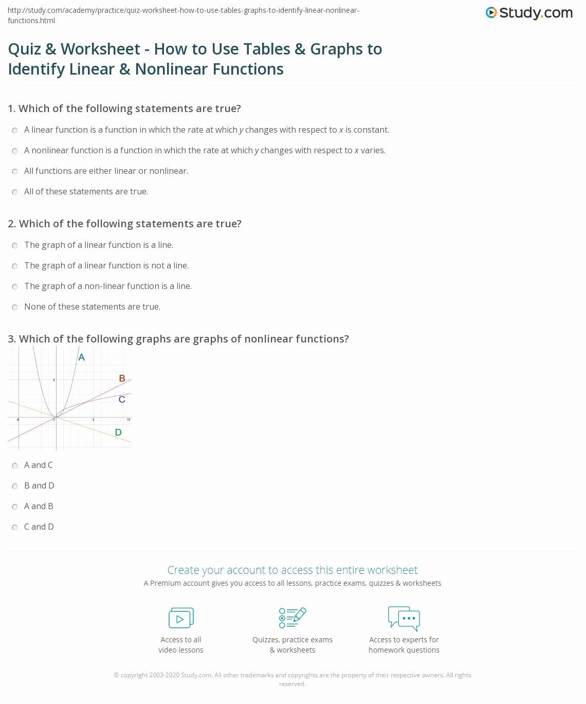 Linear and Nonlinear Functions Worksheet Free Quiz & Worksheet How to Use Tables & Graphs to Identify