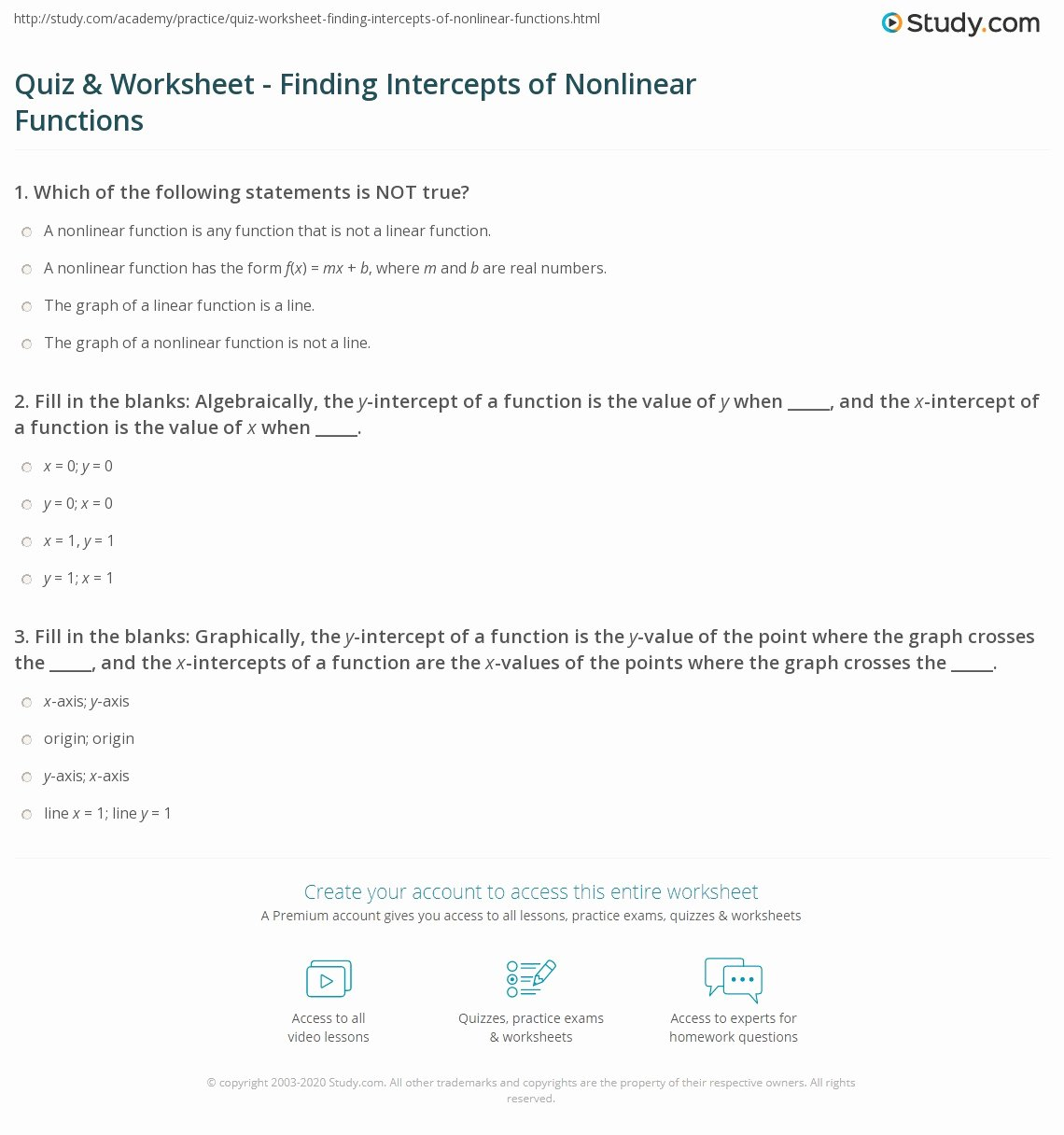 Linear and Nonlinear Functions Worksheet Kids Quiz & Worksheet Finding Intercepts Of Nonlinear Functions