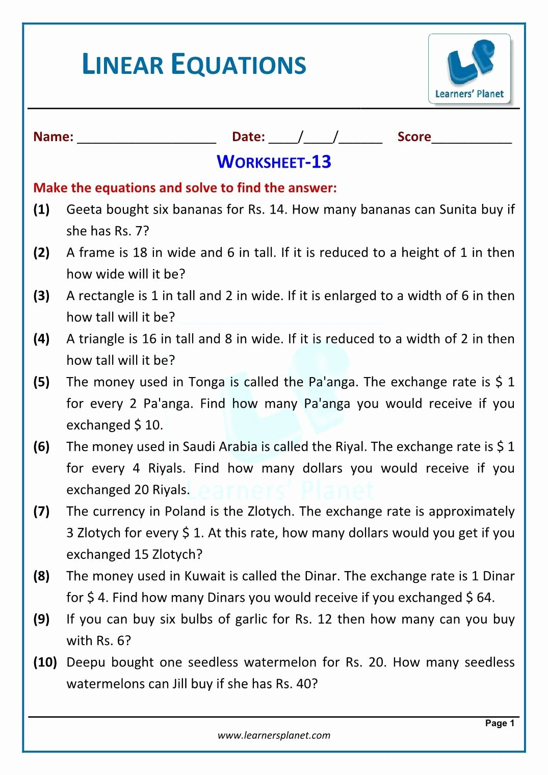 Linear Equation Word Problems Worksheet Printable 3 Inequality Word Problems Worksheet 7th Grade Single