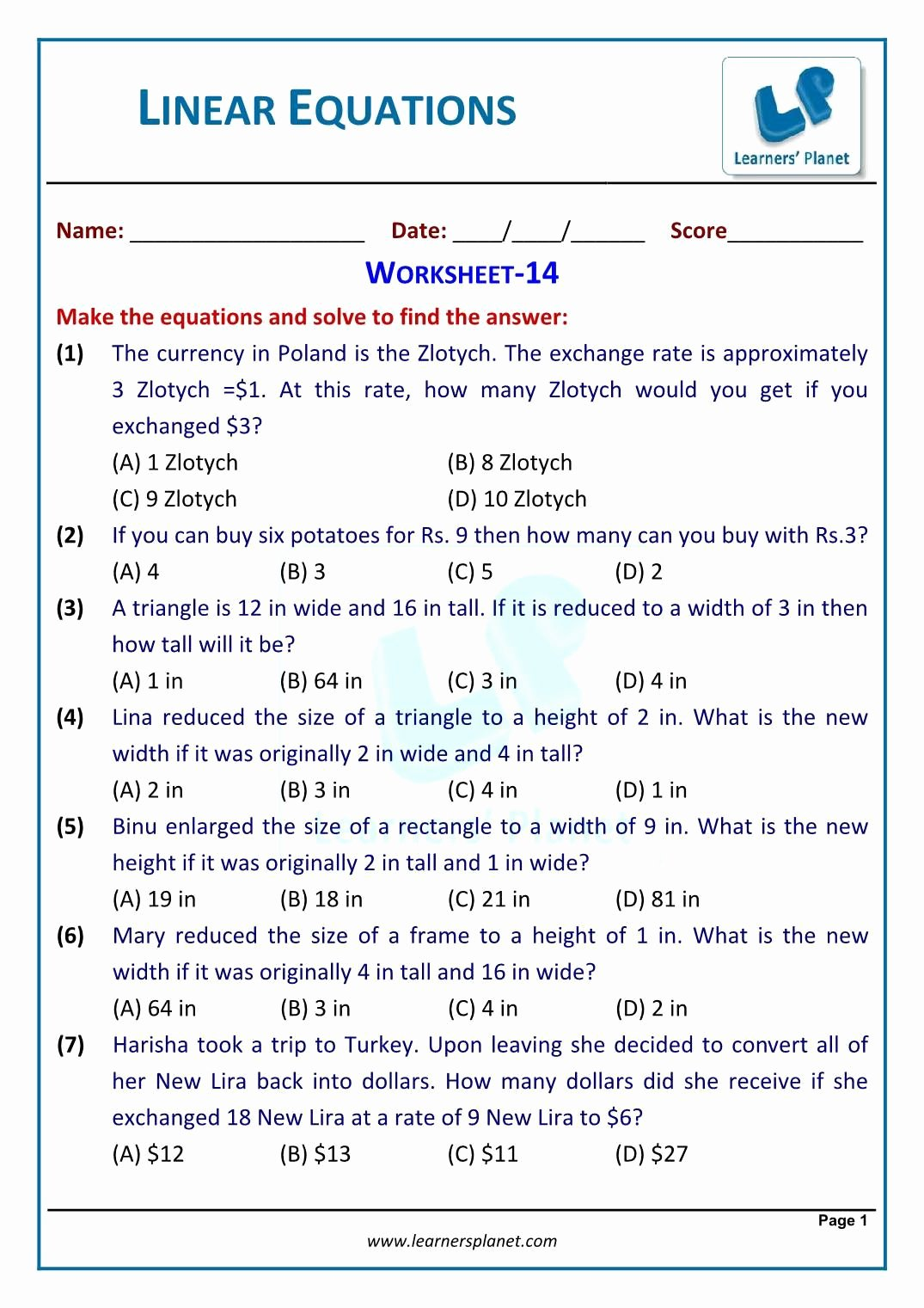 Linear Equation Word Problems Worksheet Printable 4 Linear Equations In E Variable Word Problems Worksheet