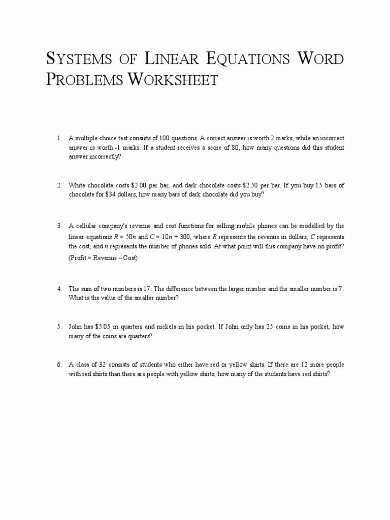 Linear Functions Word Problems Worksheet Printable Systems Of Linear Equations Word Problems Worksheet
