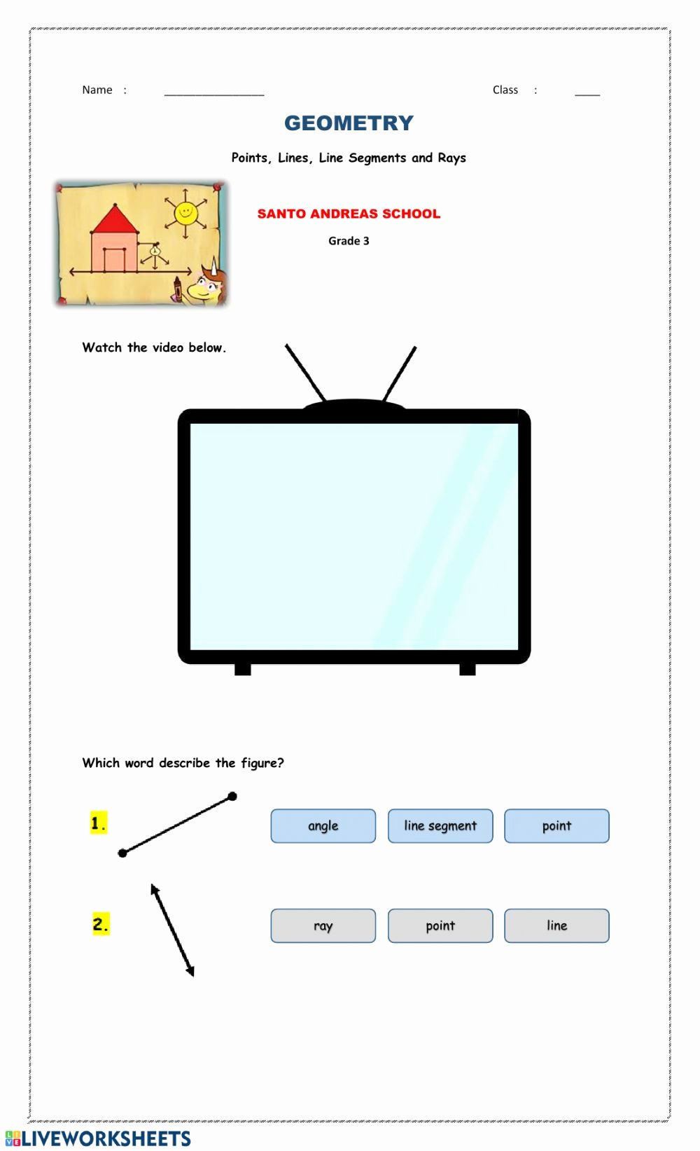 Lines Rays and Angles Worksheets Fresh Points Lines Line Segments and Rays Interactive Worksheet