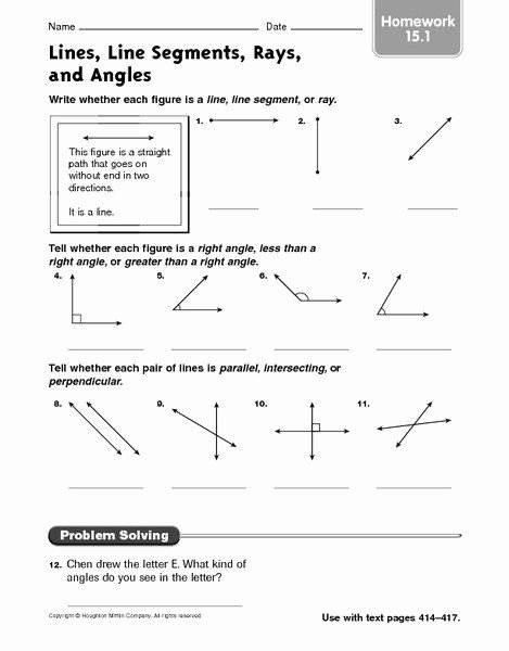 Lines Rays and Angles Worksheets Inspirational Lines and Angles Worksheet Lines Line Segments Rays and