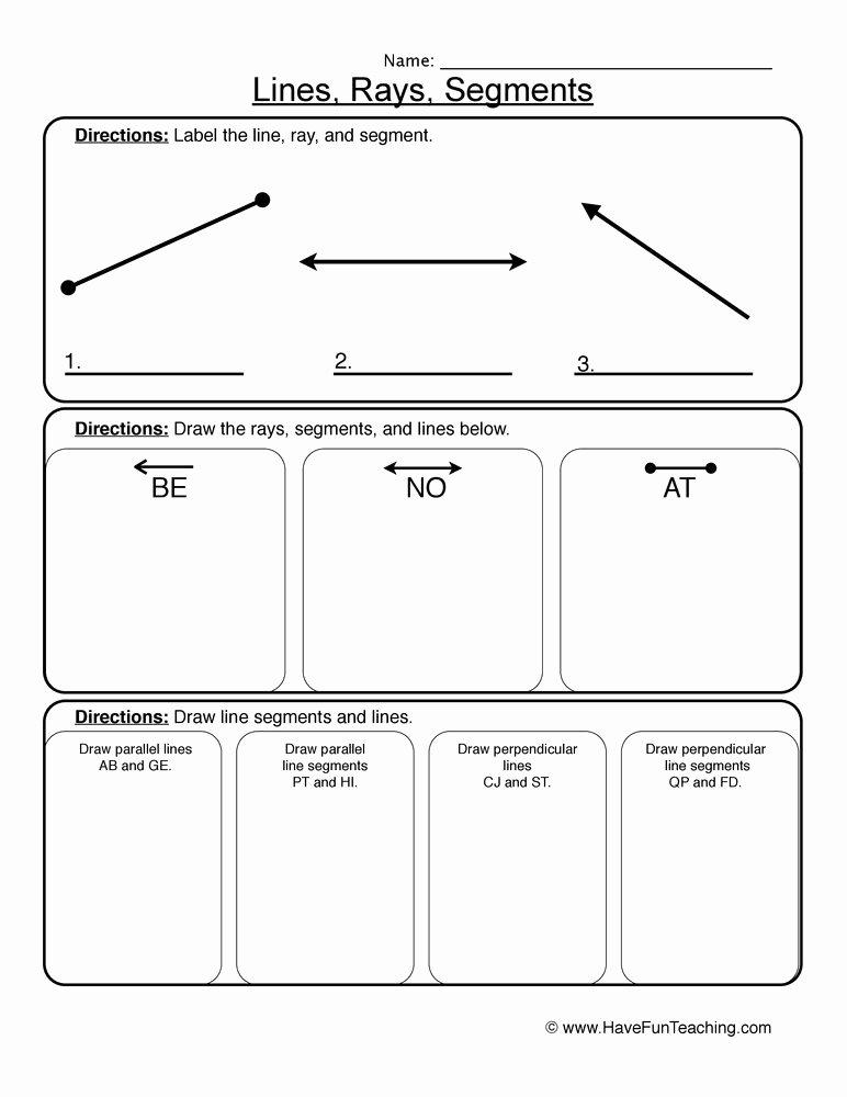 Lines Rays and Angles Worksheets Printable Angles Rays and Segments Worksheet