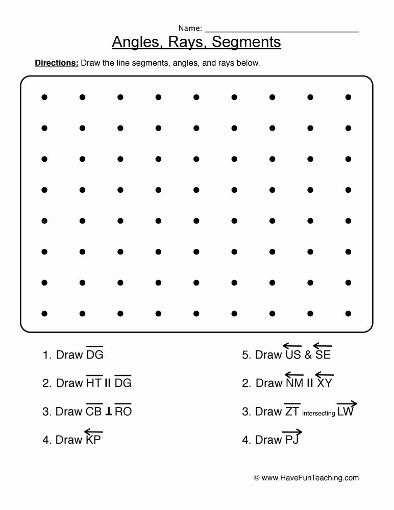 Lines Rays Line Segments Worksheets Printable Lines Rays and Segments Worksheet