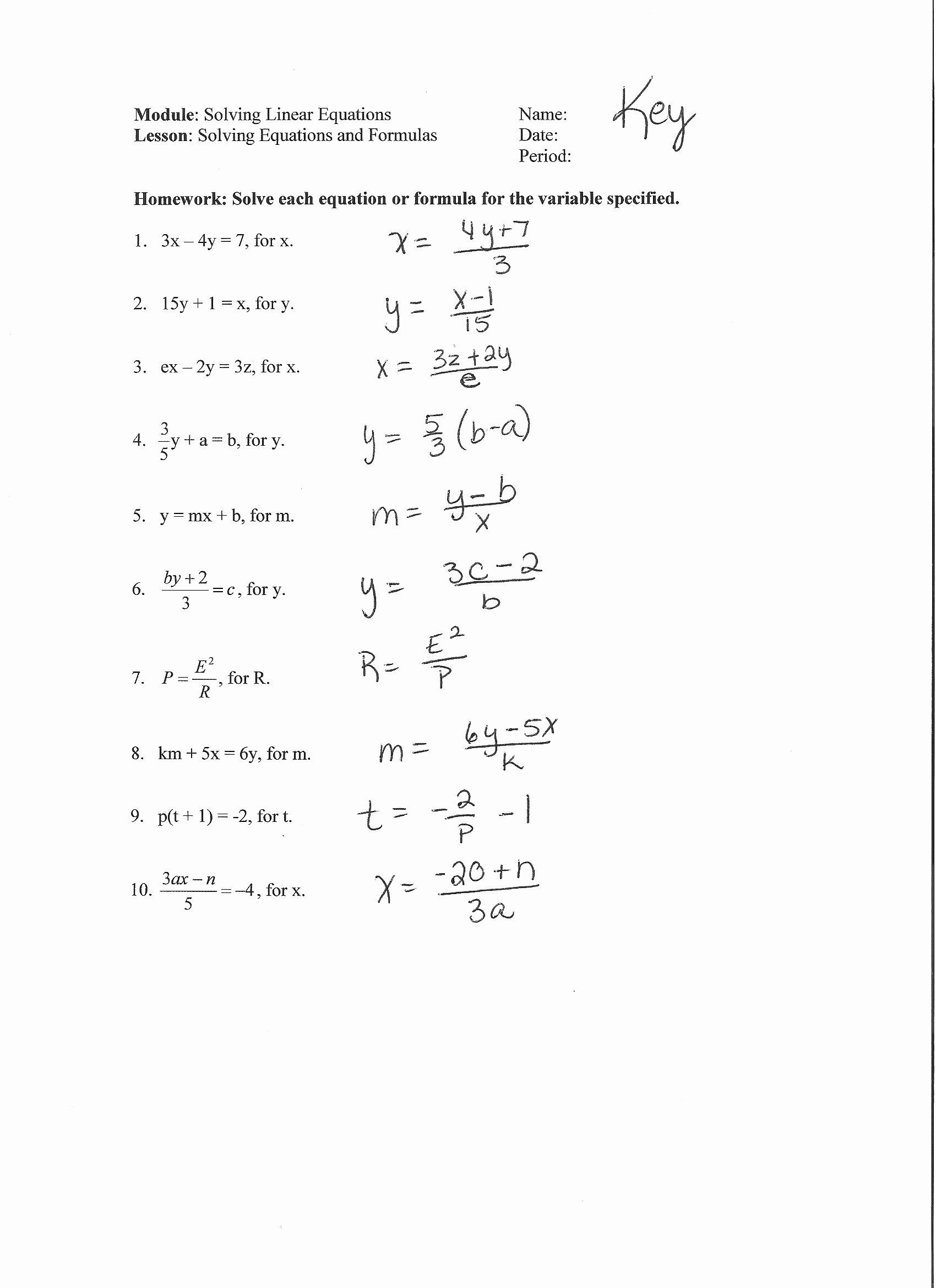 Literal Equations Worksheet Answer Key Kids Alex