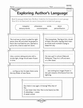 Literary Elements Worksheet High School Printable Free Worksheets On Literary Devices