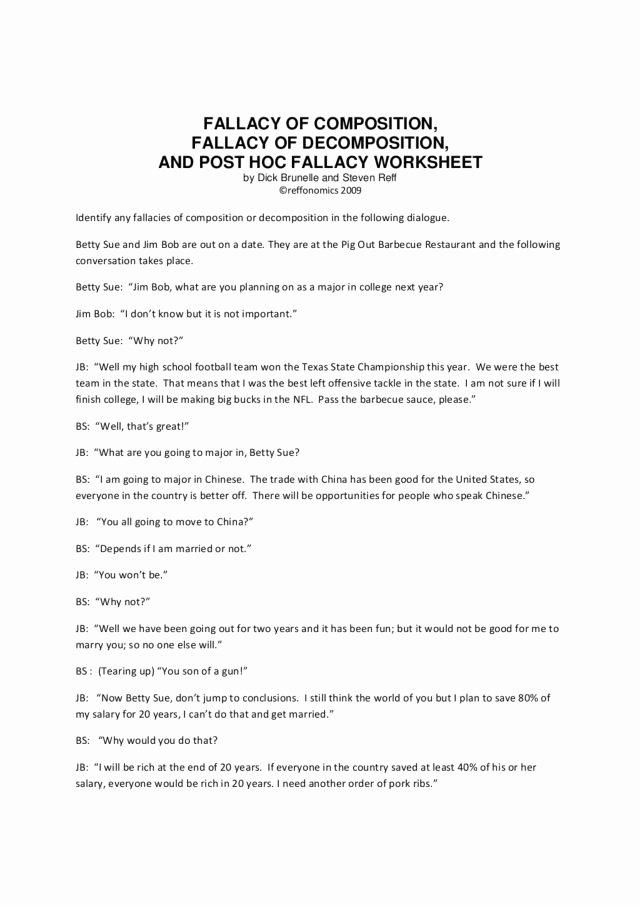 Logical Fallacies Worksheet High School Kids Fallacy Of Position Fallacy Of De Position and Post