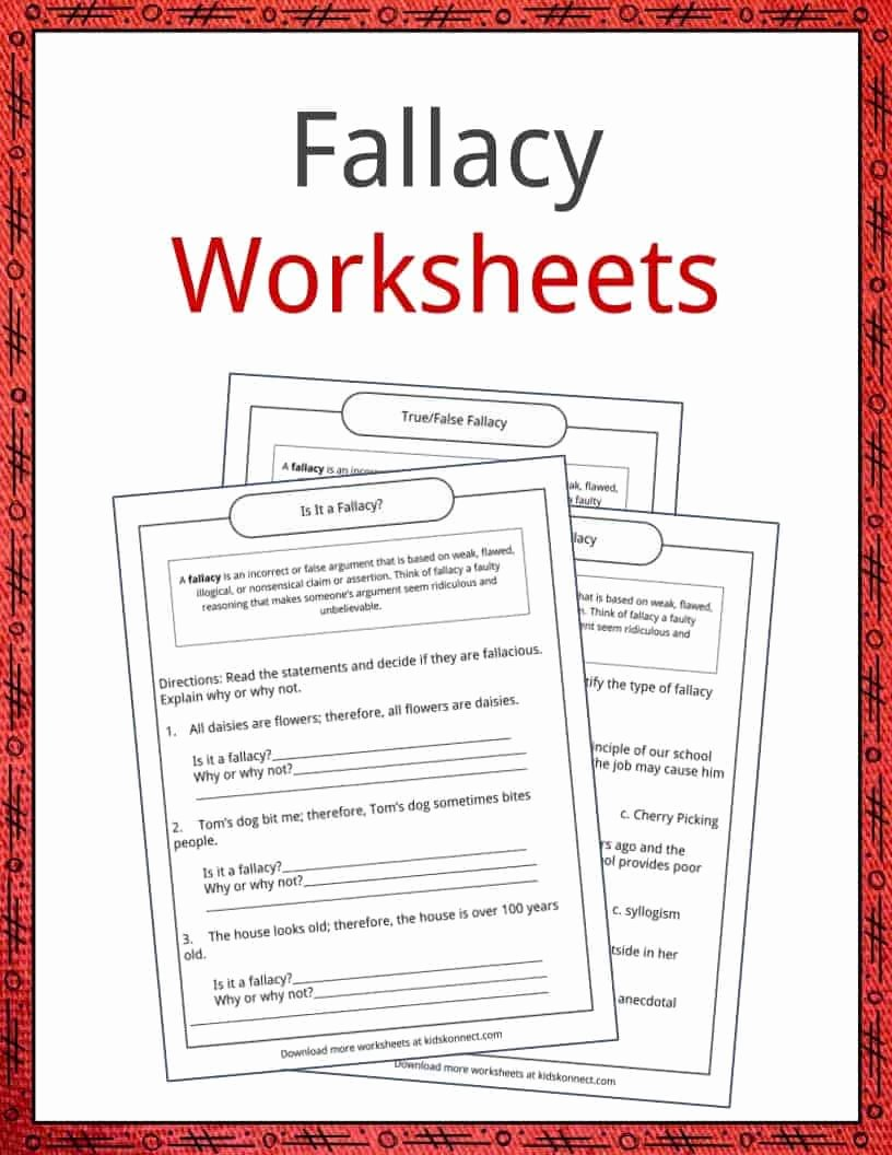 Logical Fallacies Worksheet High School Lovely Fallacy Examples Definition and Worksheets