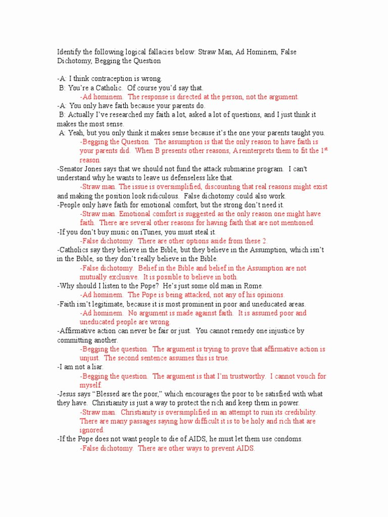 Logical Fallacies Worksheet with Answers Best Of Apolo Ics Fallacies Worksheet Answers Reason