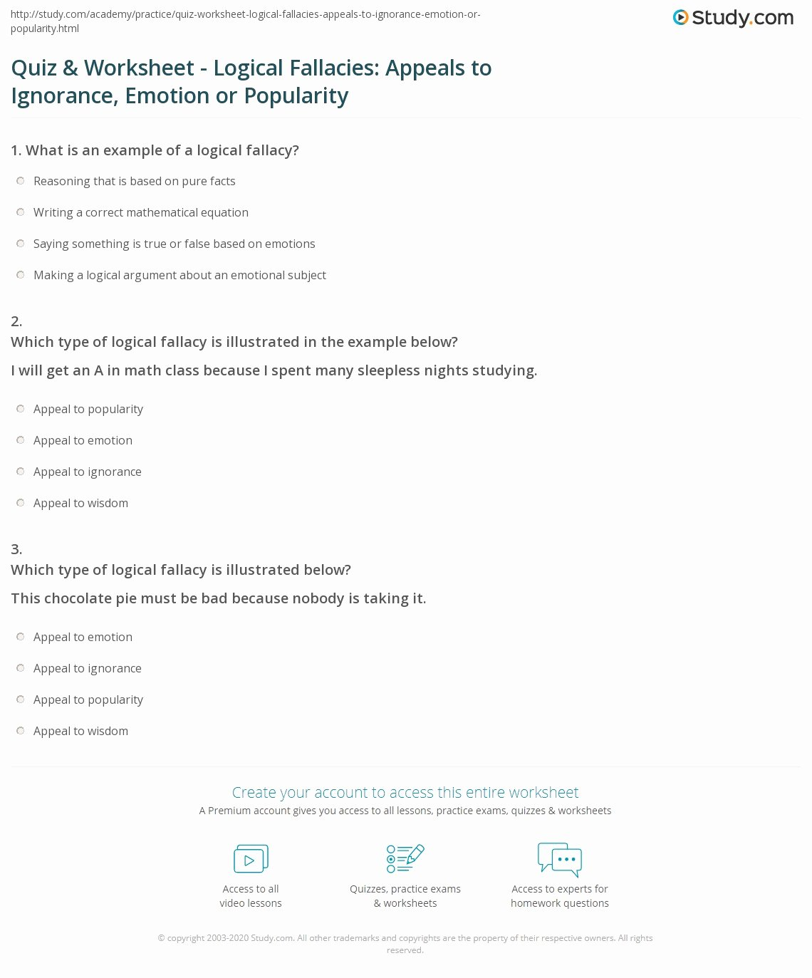 Logical Fallacies Worksheets High School Best Of Quiz & Worksheet Logical Fallacies Appeals to Ignorance