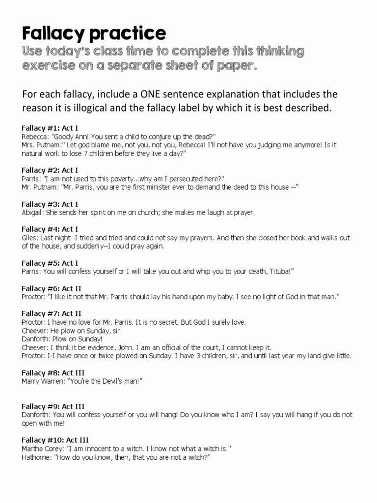 Logical Fallacies Worksheets High School Free Logical Fallacies Worksheet