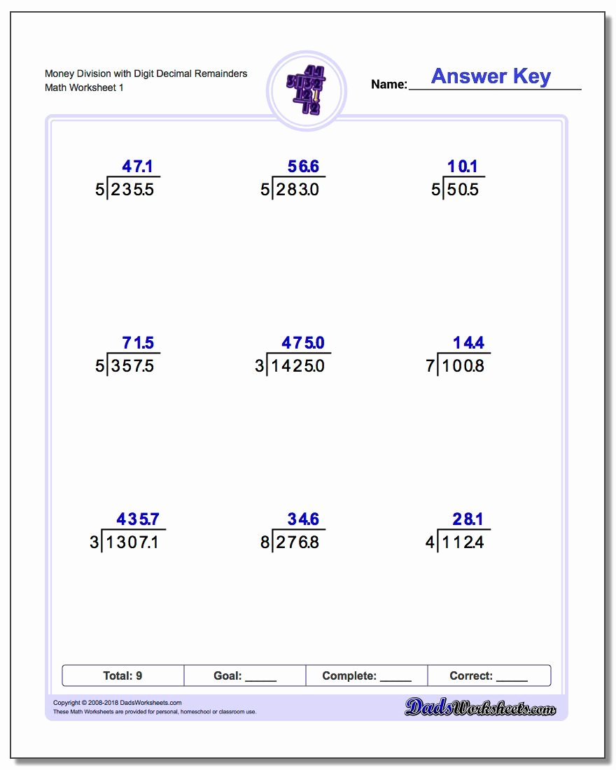 Long Division with Decimals Worksheets Inspirational Division with Decimal Results