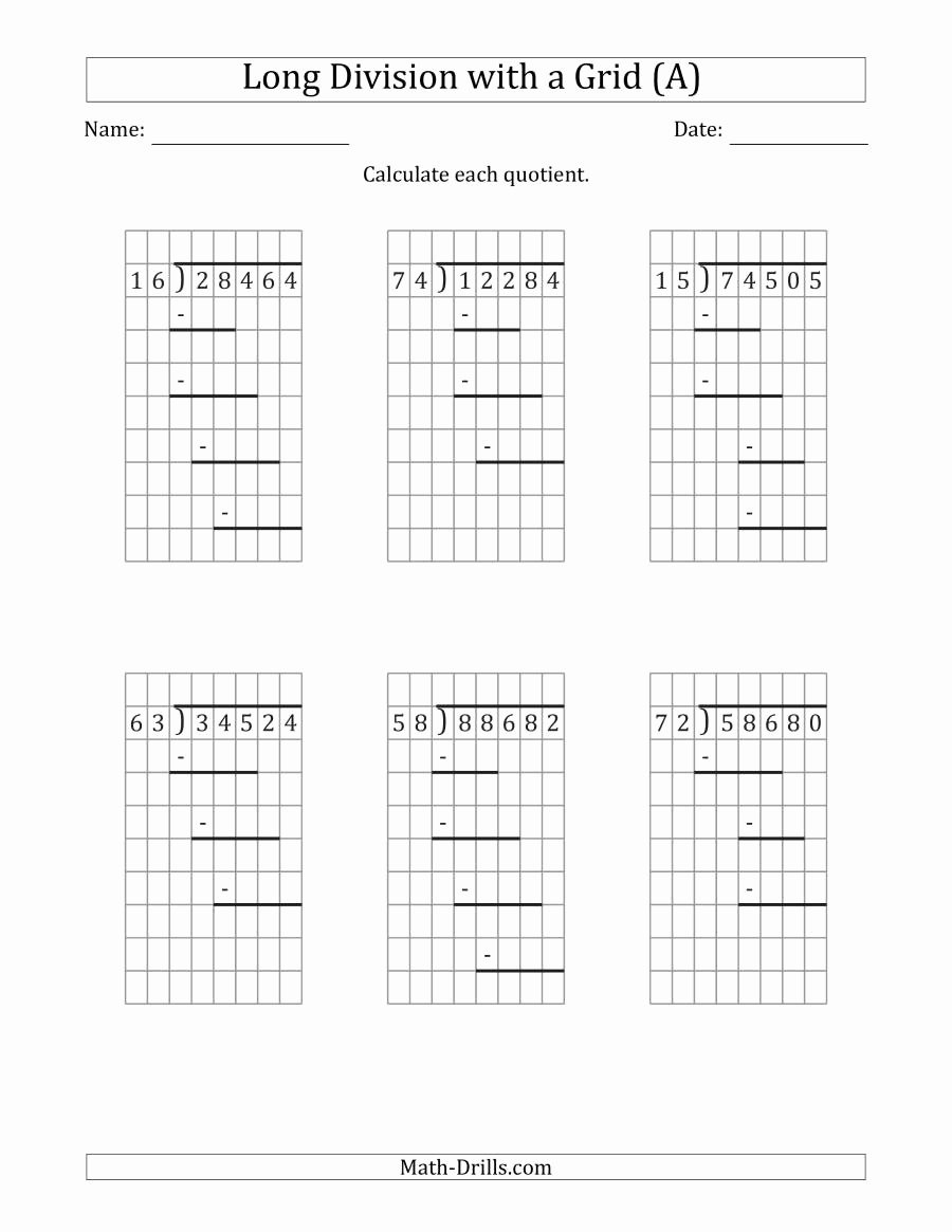 Long Division Worksheets Grade 5 Printable 5 Digit by 2 Digit Long Division with Grid assistance and