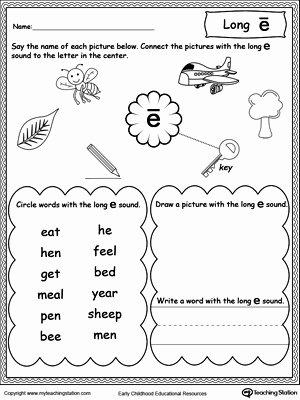 Long E Short E Worksheets Best Of Long E sound Worksheet