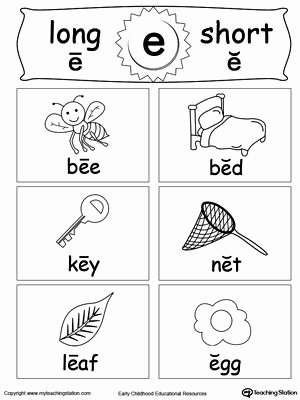 Long E Short E Worksheets Fresh Short and Long Vowel Flashcards E