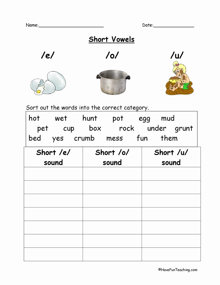 Long E Short E Worksheets Inspirational E O U Short Vowels Worksheet