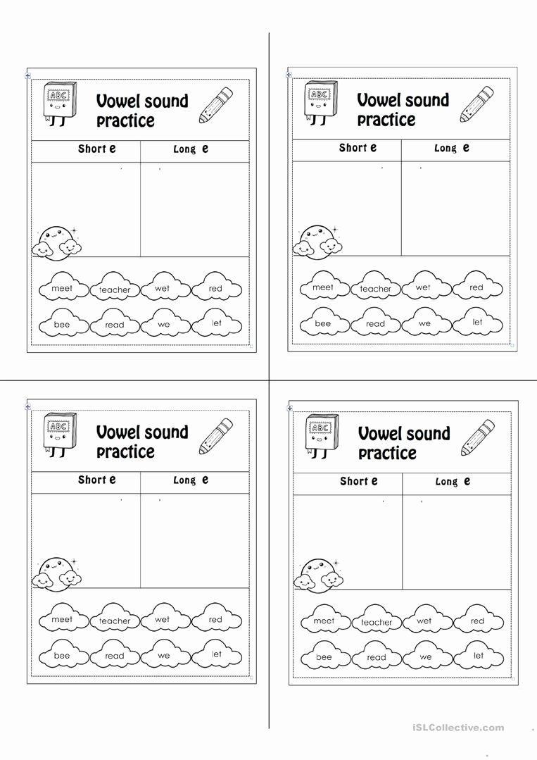 Long E Short E Worksheets Kids Short E Long E English Esl Worksheets for Distance
