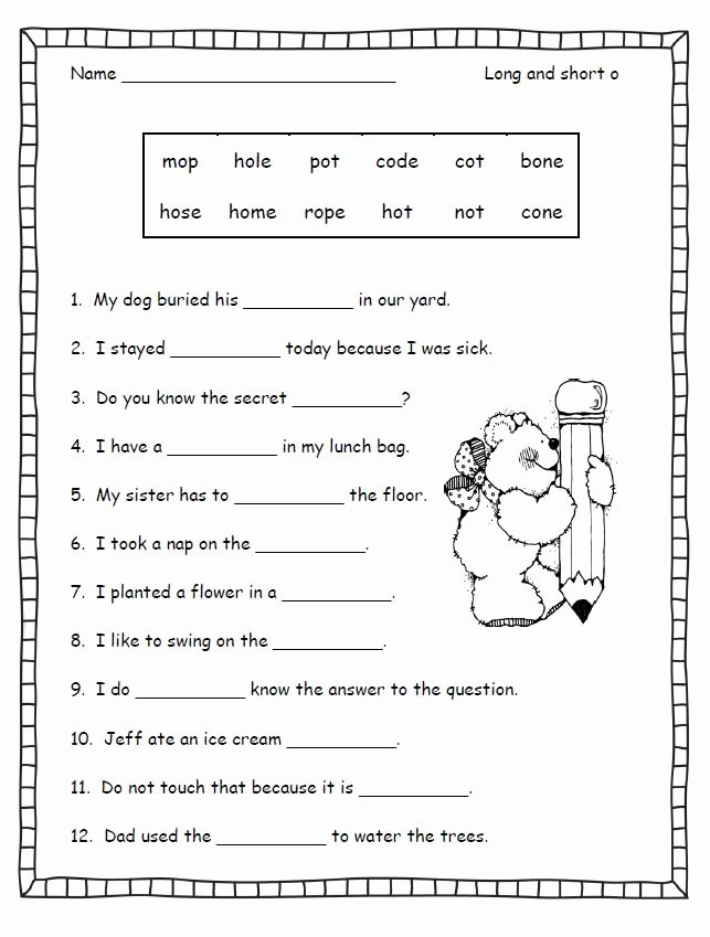 Long O Silent E Worksheets Best Of Silent E Worksheets for First Grade