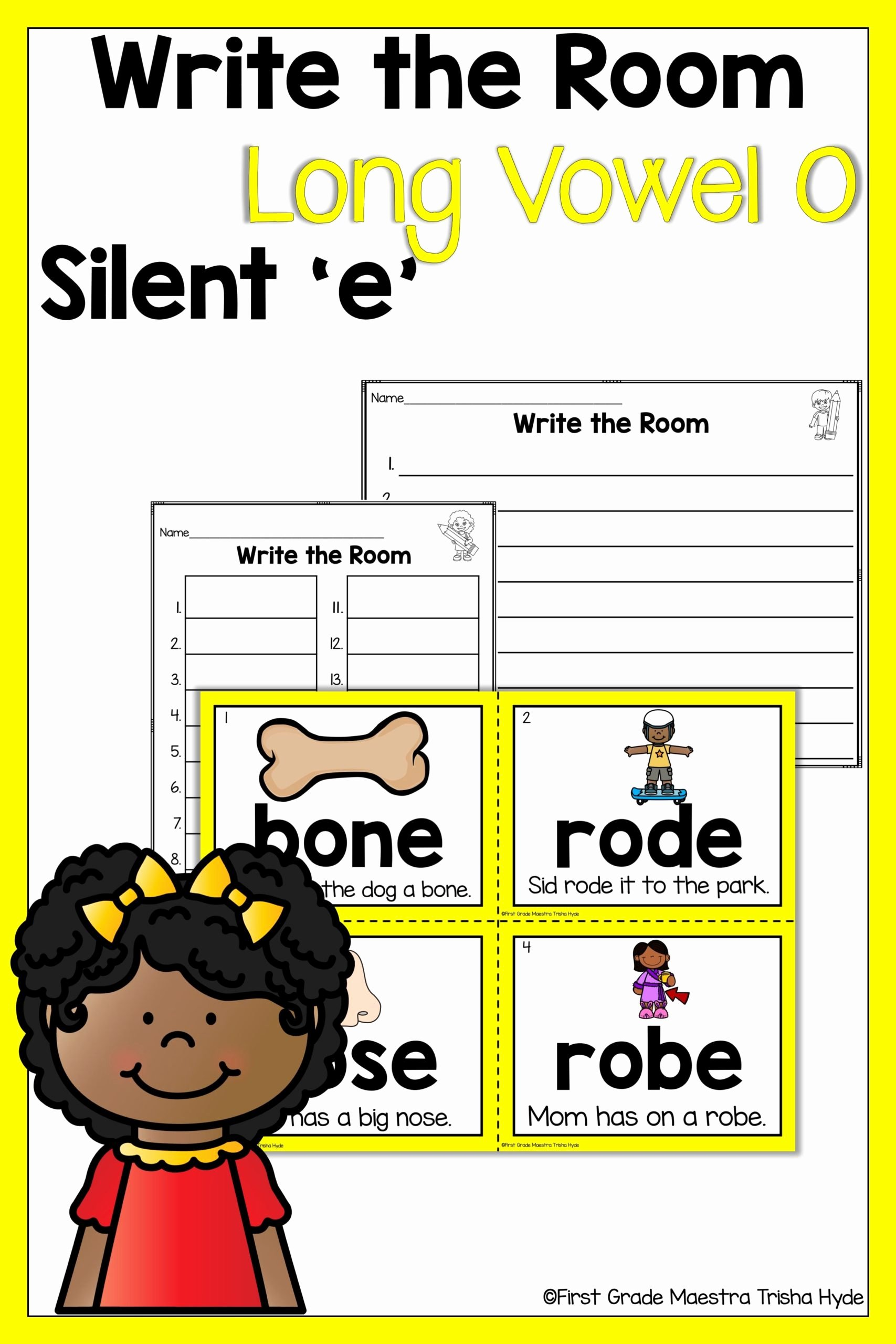 Long O Silent E Worksheets Printable Write the Room Vowel Silent with Phonics Worksheets