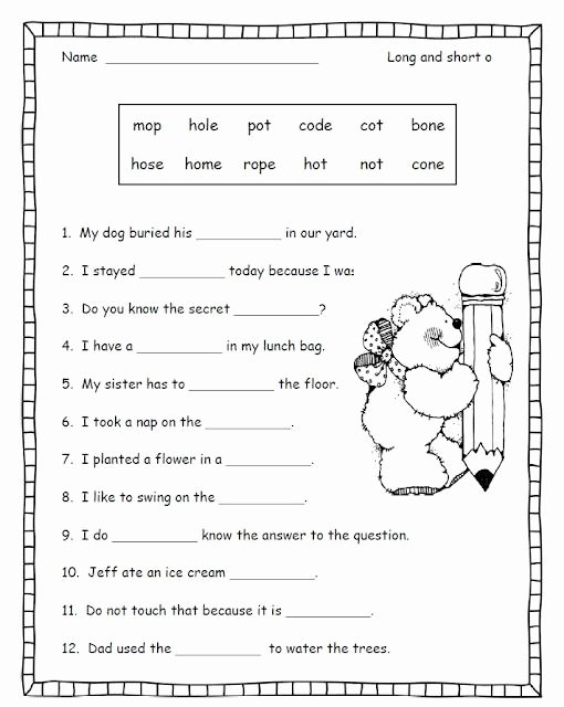 Long O Worksheets 2nd Grade Best Of Long and Short O Good Activity for when the Students Have
