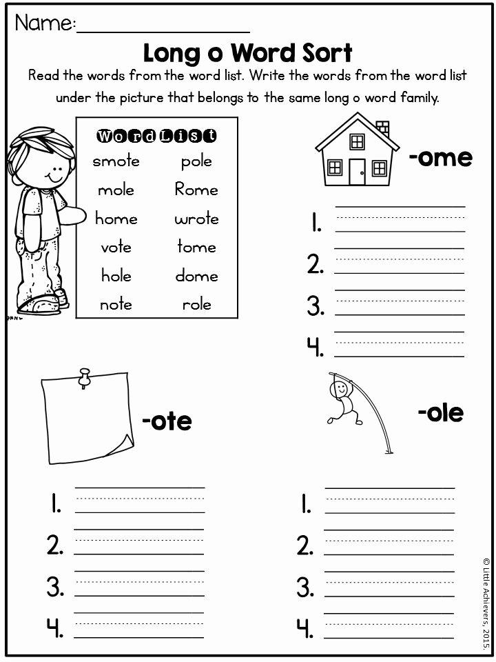 Long O Worksheets 2nd Grade Free Long Vowel O E
