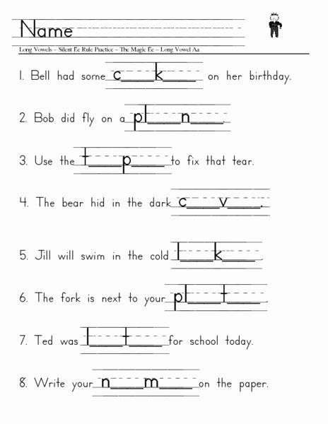Long Vowel Silent E Worksheet Lovely Long Vowels Silent E Worksheet for 1st 2nd Grade